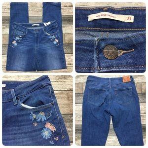 Levi's mid rise skinny jeans women 31 floral light